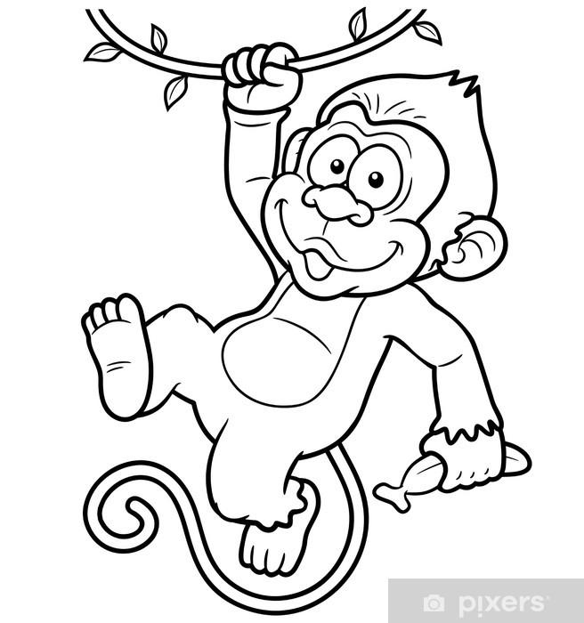 Karikatur Maymun Vector Illustration Boyama Kitabi Cikartmasi