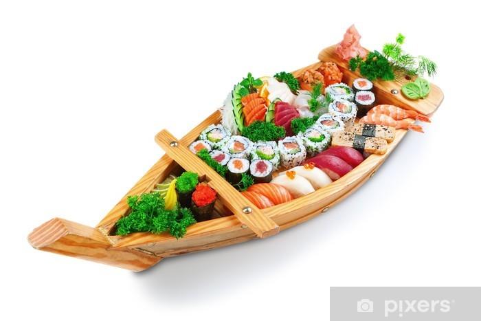 Carta da Parati in Vinile Raccolta di specie sushi sulla nave piastra decorativa. Su aw - Temi