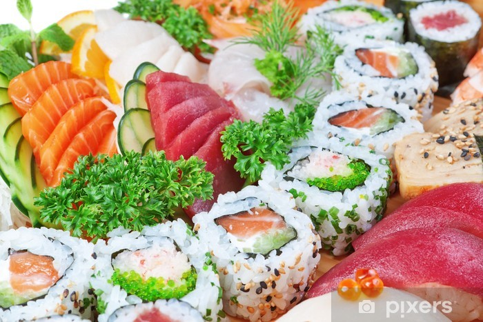Papier peint vinyle Groupe d'aliments de luxe, le caviar de sushi, saumon de près. - Sushi