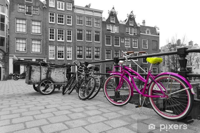 Papier peint vinyle Bicyclette rose - Vélos