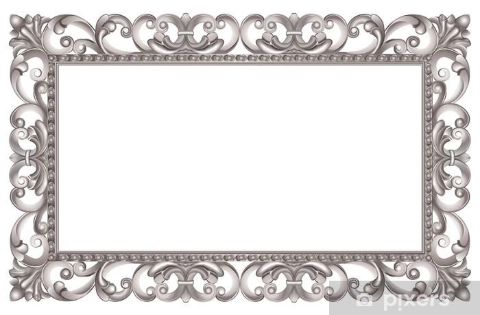 Sticker Pixerstick Cadre baroque ajouré et argenté, de style italien - Signes et symboles