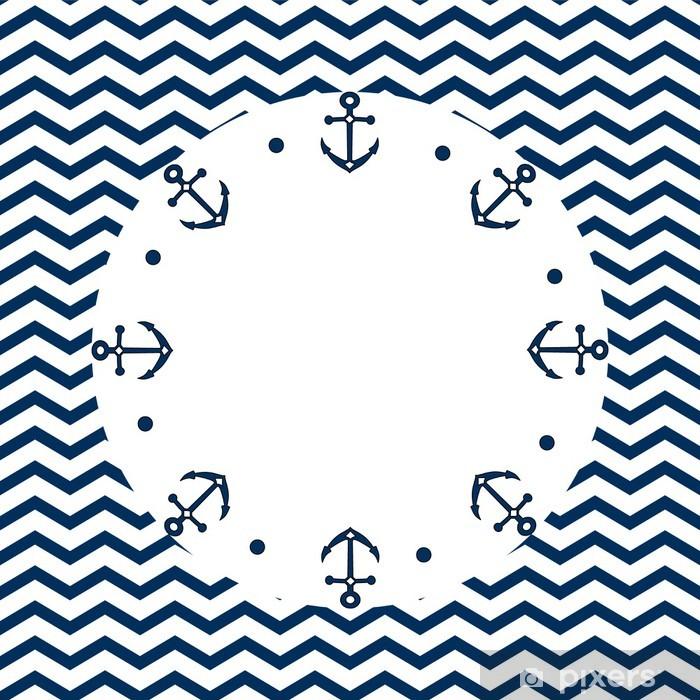 Papier Peint Bleu Marine Et Blanc Frame Avec Des Ancres Sur Un