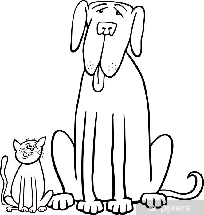 Boyama Kitabı Için Kedi Ve Köpek Karikatür Duvar Resmi Pixers