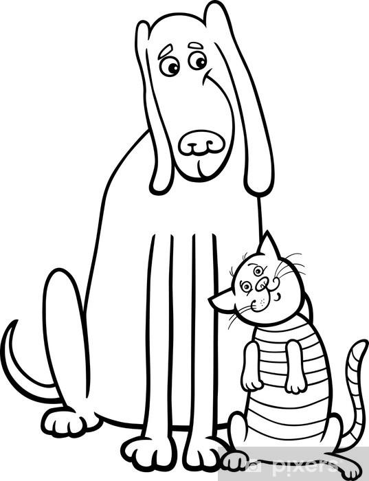 Boyama Kitabı Için Köpek Ve Kedi Karikatür Duvar Resmi Pixers