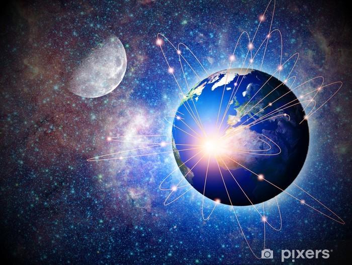 Fotomural Estándar Transporte espacial y las tecnologías en el futuro, Ba abstracto - Internet y redes