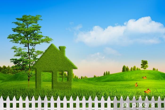 Vihreä talo, abstrakti ympäristön taustat oman suunnittelun Vinyyli valokuvatapetti - Puut
