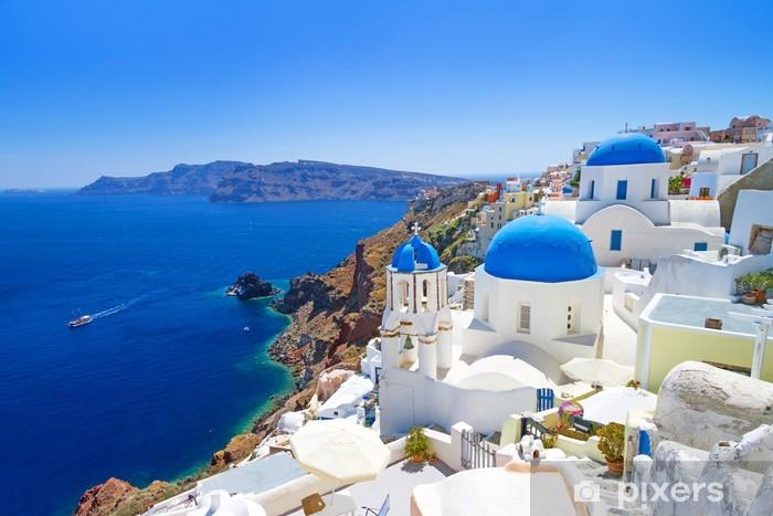 Valkoinen arkkitehtuuri oian kylässä santorini saarella, kreikassa Vinyyli valokuvatapetti - Santorini