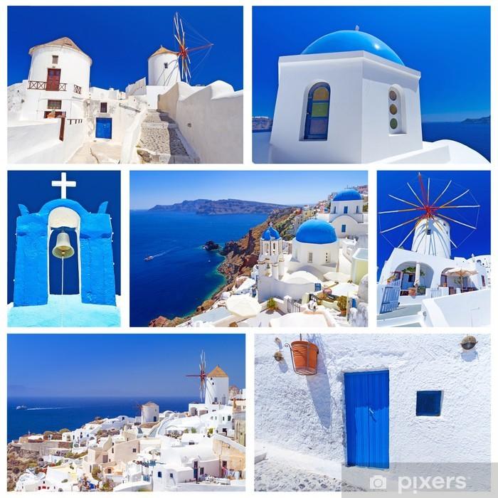Póster Collage de imágenes de la isla de Santorini, Grecia - Europa