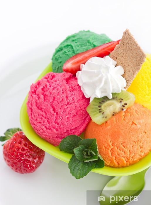 Papier peint vinyle Bol de crème glacée aux fruits - Thèmes