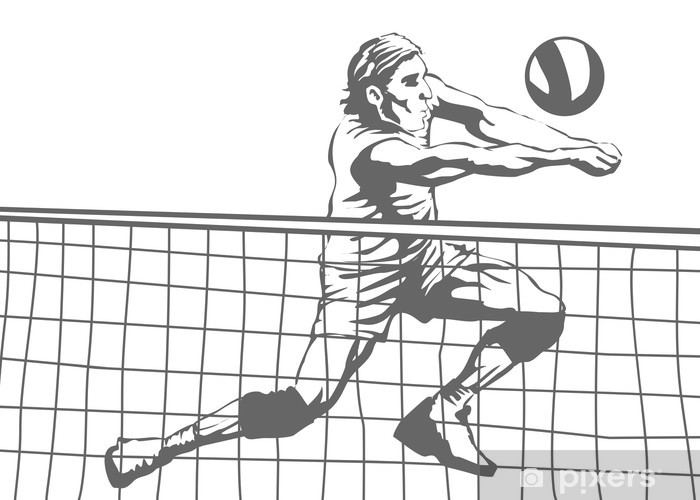 Nálepka Pixerstick Volejbalový hráč - Volejbal