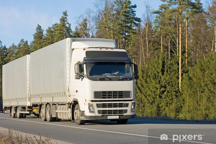 Blank Tractor Trailer Truck On Road Of Business Vehicles Vinyl Wall Mural