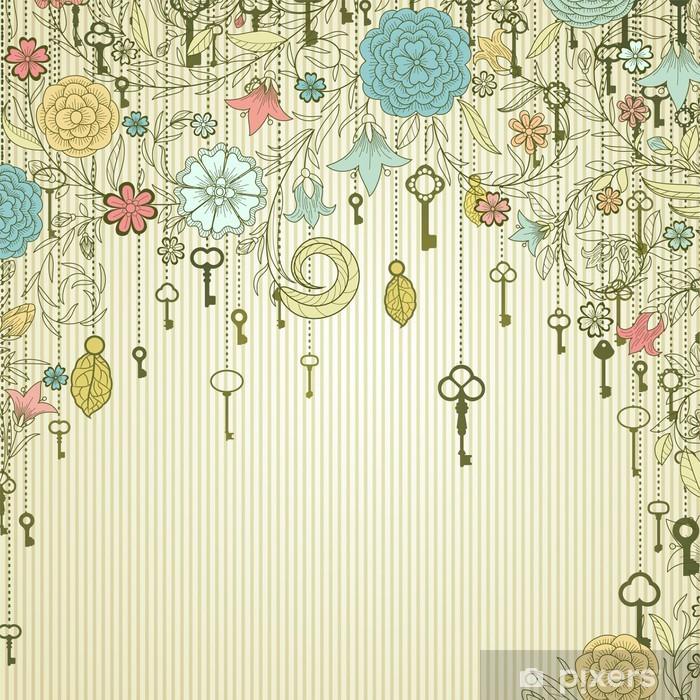 Papier peint vinyle Fond de cru avec des fleurs et des clés de griffonnage -