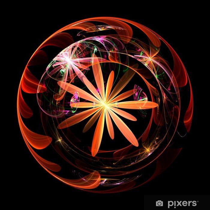 Plakat Fractal płomień kwiat globe background. - Tła
