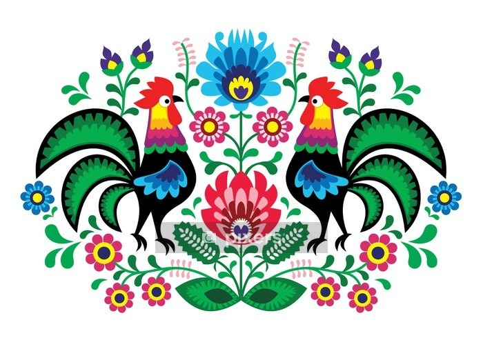 Polish floral embroidery with cocks - traditional folk pattern Wall Decal - Wall decals