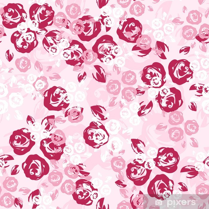 Poster Seamless avec des roses roses et blanches. Vector illustration. - Styles
