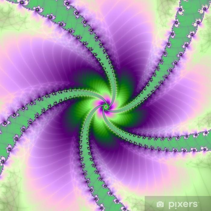 Plakát Zelená a fialová kolotoč - Abstraktní