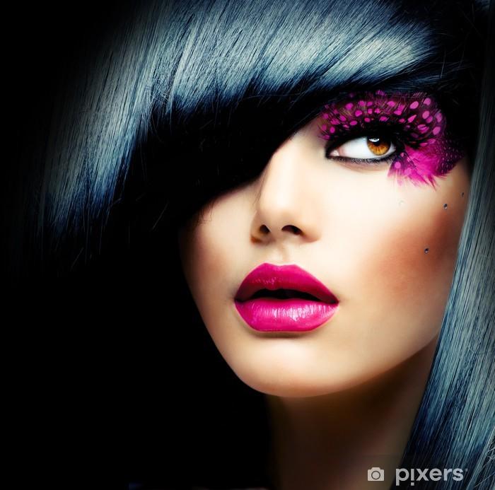 Naklejka Pixerstick Portret mody model brunetka. Fryzura - Moda