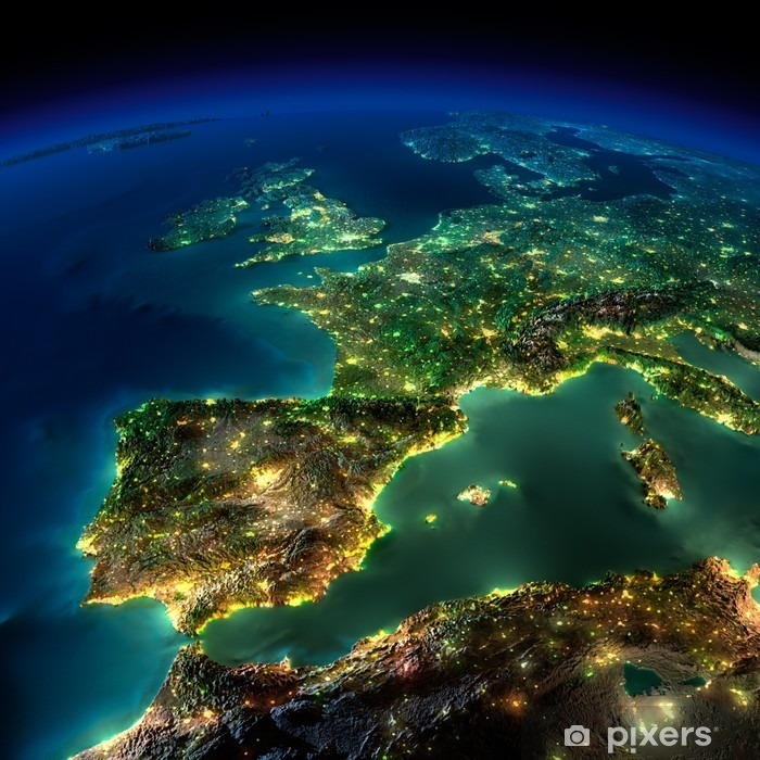 Night Earth. A piece of Europe - Spain, Portugal, France Poster - iStaging