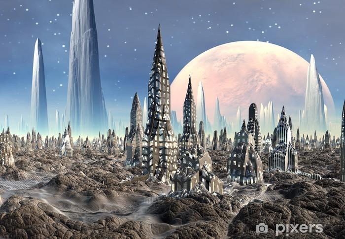 Naklejka Pixerstick Futurystyczny obce miasto - grafika komputerowa - Przestrzeń kosmiczna
