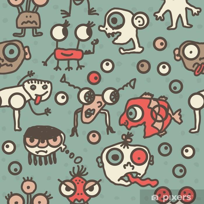 Sticker Pixerstick Mosnters génial ayant bande dessinée, seamless plaisir - Arrière plans