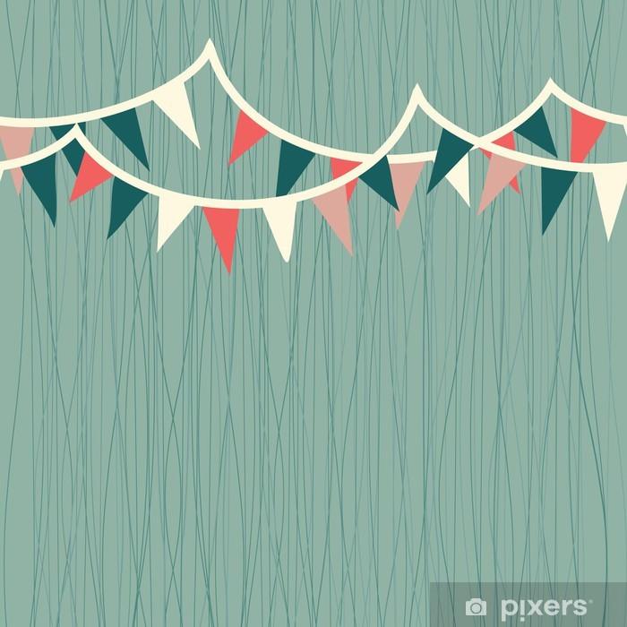 Naklejka Pixerstick Flagi poziome retro niebieski, biały i czerwony szwu wzór - Świętowanie