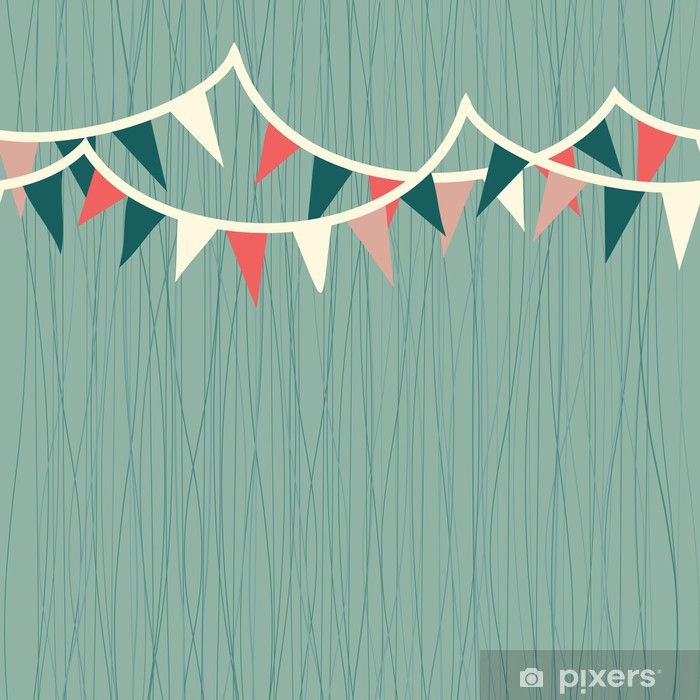 horizontal flags in retro blue, white and red seamless pattern Vinyl Wall Mural - Celebrations