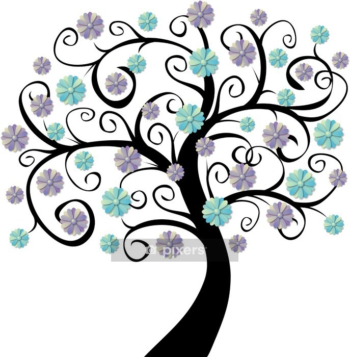 arbre en fleurs bleues wall decal pixers we live to change. Black Bedroom Furniture Sets. Home Design Ideas