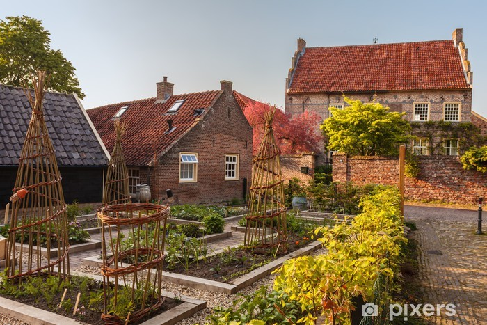 Sticker Pixerstick Vue sur la ville médiévale néerlandais Bronkhorst dans Gelderland - Maisons et jardins