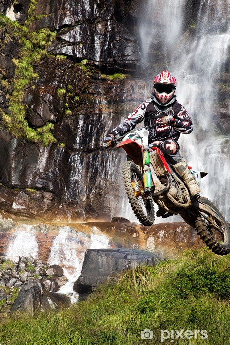 motocross with waterfall Vinyl Wall Mural - Extreme Sports