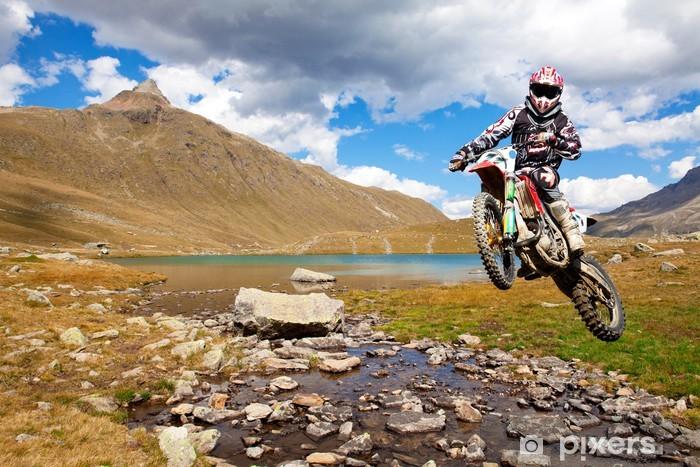 Pixerstick Sticker Motorcross in het hooggebergte - iStaging