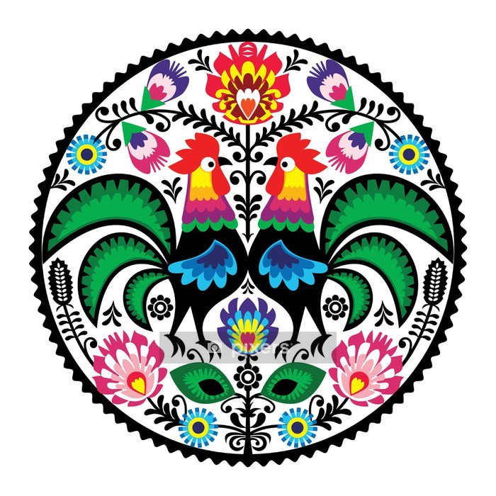 Polish floral embroidery with roosters folk pattern Wall Decal - Wall decals