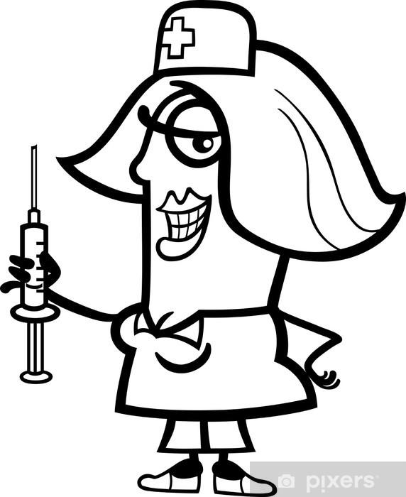 Vinilo Enfermera Con Una Jeringa De Dibujos Animados Pixerstick