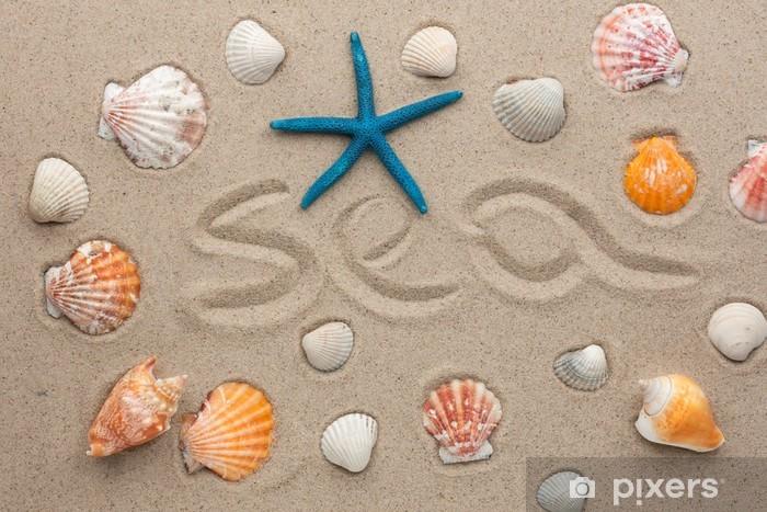 Sticker Pixerstick Le mot mer écrit sur le sable - Vacances