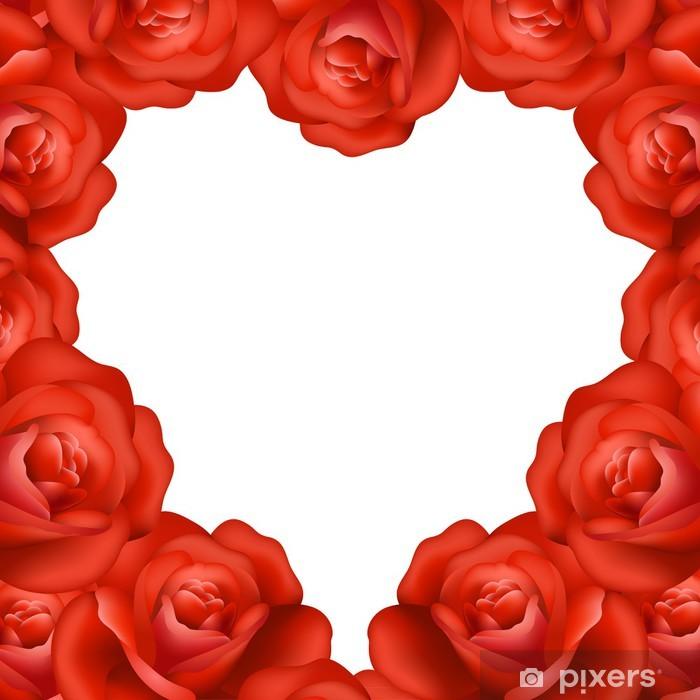 Carta Da Parati Telaio Cuore Di Rose Rosse Con Cornice Di Testo