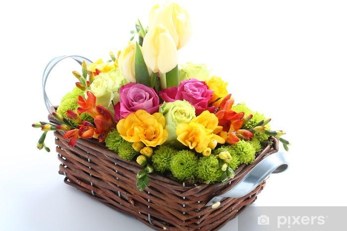 Naklejka Pixerstick Kosz kwiatów - Kwiaty