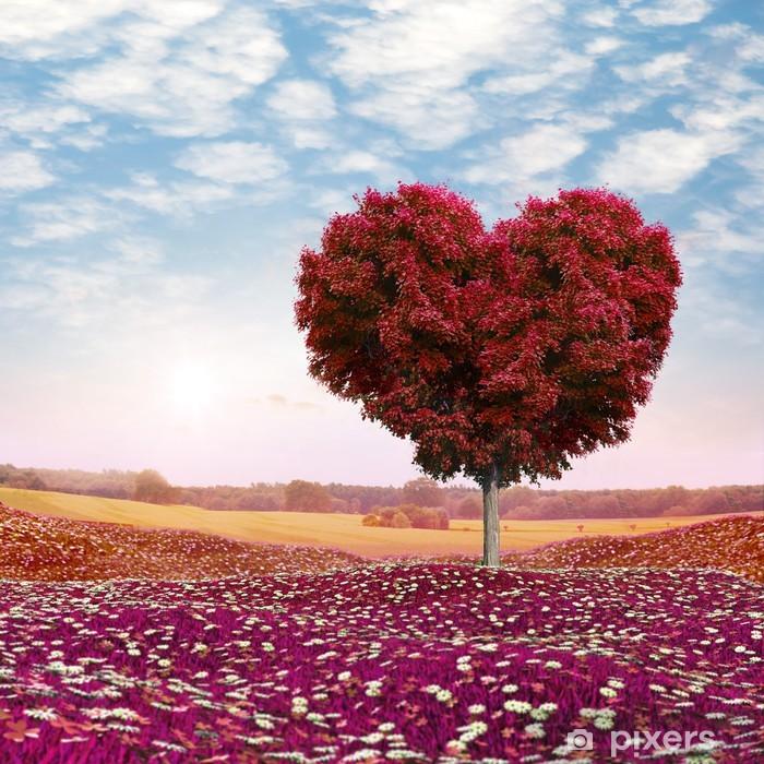 Naklejka Pixerstick Drzewo w kształcie serca czerwone liście, Walentynki - Tematy