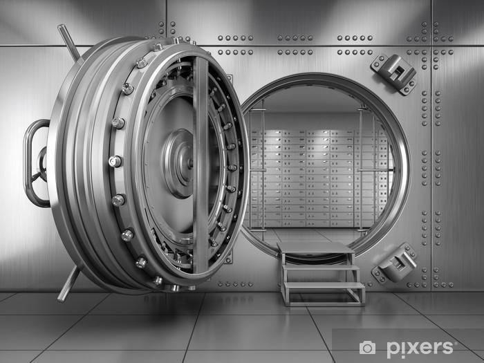 Fotobehang Vinyl Open Bank Vault Door