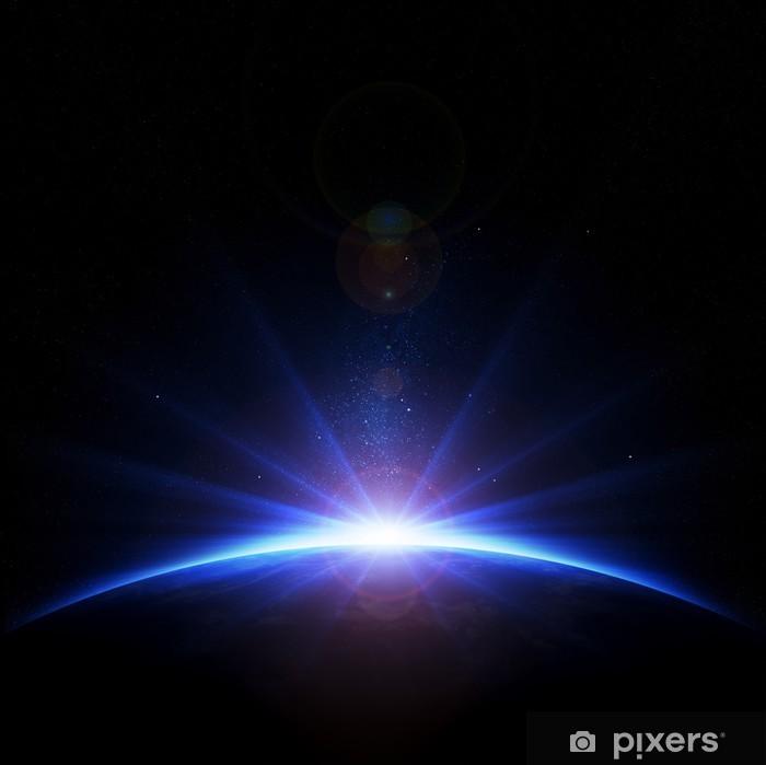 Naklejka Pixerstick Sunrise Ziemia z promieni i flary obiektywu - Znaki i symbole
