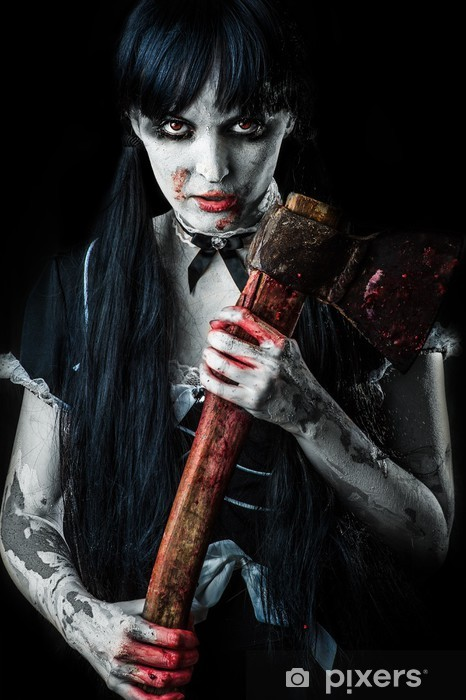Naklejka Pixerstick Martwe kobieta zombie z krwawym toporem - Tematy