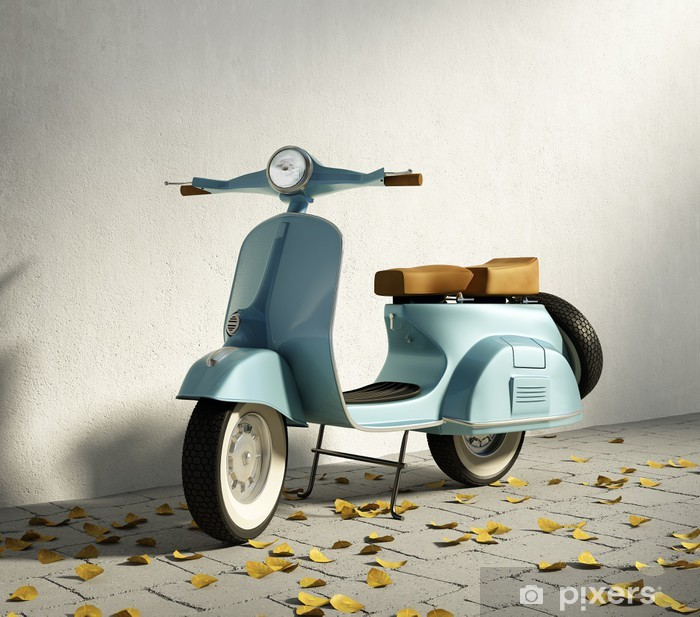 Fotomural Estándar Vintage vespa motocicleta de color azul, por la pared con las hojas caídas - tiempo