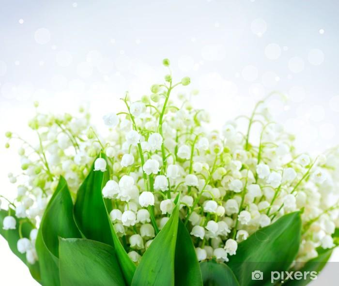 Fototapeta winylowa Lily-of-the-valley Flower Design. Bukiet białe kwiaty wiosny - Dom i ogród