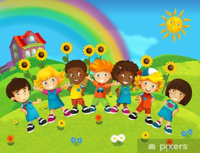 The Group Of Hy Preschool Kids Vinyl Wall Mural Backgrounds
