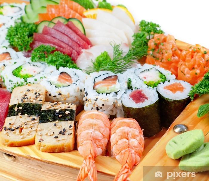 Papier peint vinyle Délicieuses variétés de fruits exotique de sushi. - Sushi
