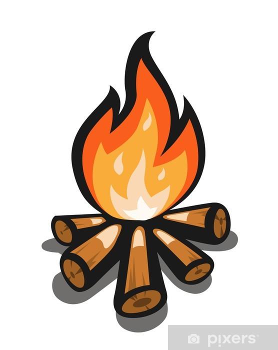 Kamp Ateşi Vektör çizim Beyaz Zemin üzerine Izole Duvar Resmi