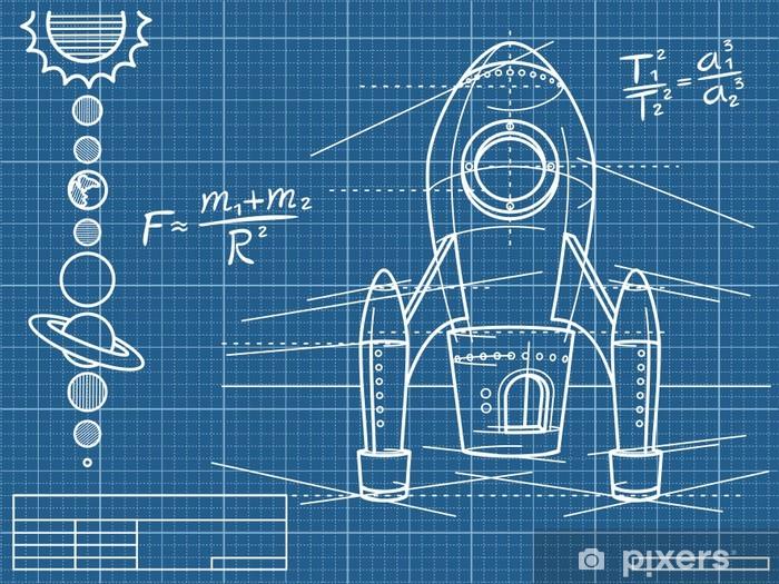 Pixerstick Sticker Blauwdruk met ruimteschip en planeten - Thema's