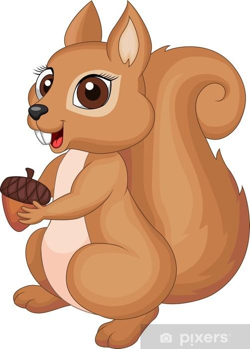 Carta da parati simpatico cartone animato scoiattolo partecipazione