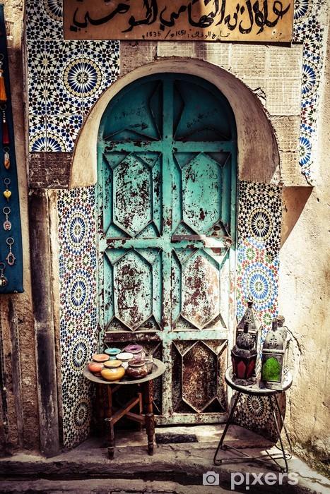 Pixerstick Sticker Detail van het mooie tegel mozaïek decoratie, Fez, Marokko - Afrika