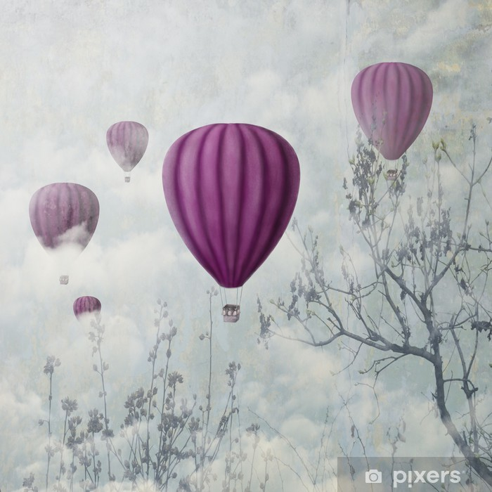 Tvättbar Fototapet Rosa ballonger - iStaging