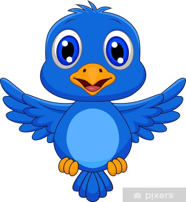 Cute blue bird cartoon Sticker • Pixers® • We live to change