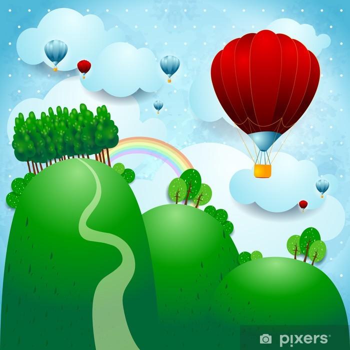 Plakat Wieś z balonami, ilustracji fantazji - Inne uczucia
